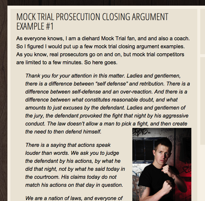 How to write prosecution closing statement for Mock Trial?
